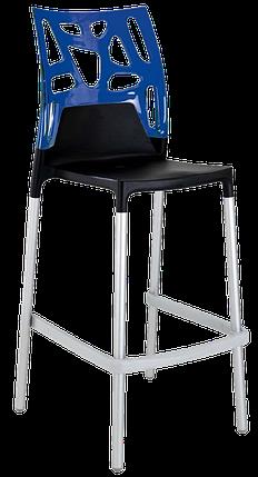 Барный стул Papatya Ego-Rock черное сиденье, верх прозрачно-синий, фото 2