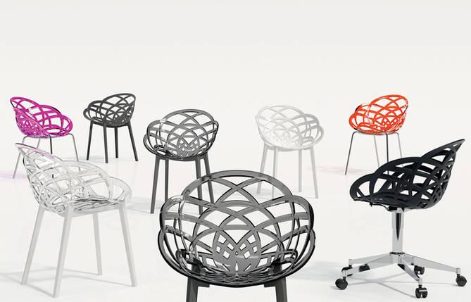 Кресло Papatya Flora прозрачно-дымчатое сиденье, низ белый, фото 2