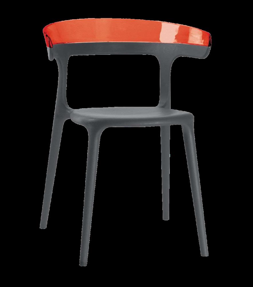 Кресло Papatya Luna антрацит сиденье, верх прозрачно-красный