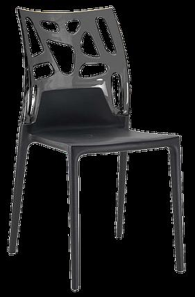 Стул Papatya Ego-Rock черное сиденье, верх прозрачно-дымчатый, фото 2