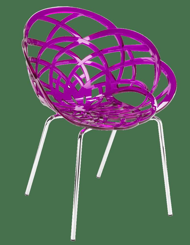 Крісло Papatya Flora-ML прозоро-пурпурове сидіння, ніжки хром