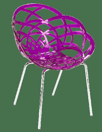 Крісло Papatya Flora-ML прозоро-пурпурове сидіння, ніжки хром, фото 2