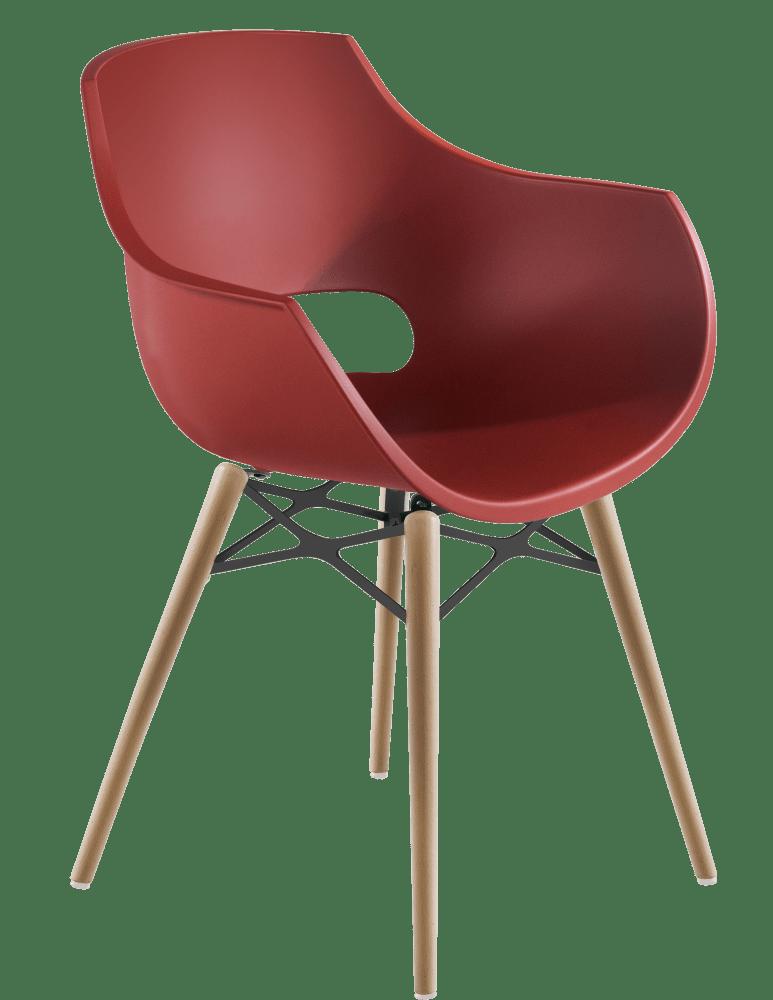 Крісло Papatya Opal-Wox матовий червоний цегла, рама натуральний бук