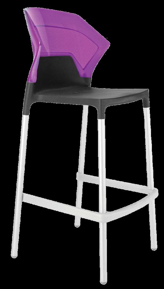 Барний стілець Papatya Ego-S антрацит сидіння, верх прозоро-пурпурний