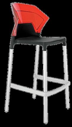 Барный стул Papatya Ego-S черное сиденье, верх прозрачно-красный, фото 2