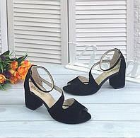 Черные замшевые босоножки на каблуке, фото 1