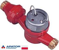 Водосчетчики Apator Powogaz JS-130-3,5-NK ГВ (ДУ-25) горячей воды с импульсным выходом одноструйные домовые