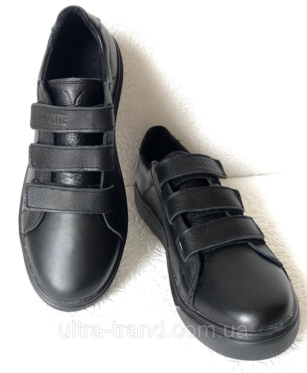 Мужские кожаные кеды на липучках сникерсы туфли брендовые Mante черные