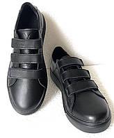 Мужские кожаные кеды на липучках сникерсы туфли брендовые Mante черные, фото 1