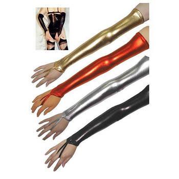 РОЗПРОДАЖ! Довгі вінілові рукавички срібло