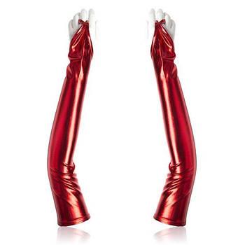 Вінілові довгі рукавички червоні