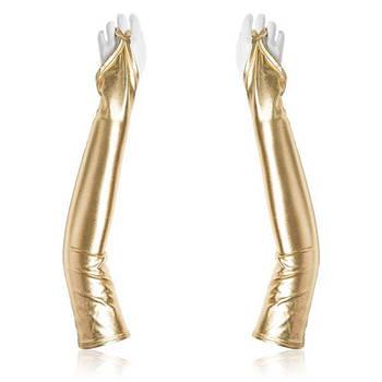 Золотисті вінілові рукавички з відкритими пальцями