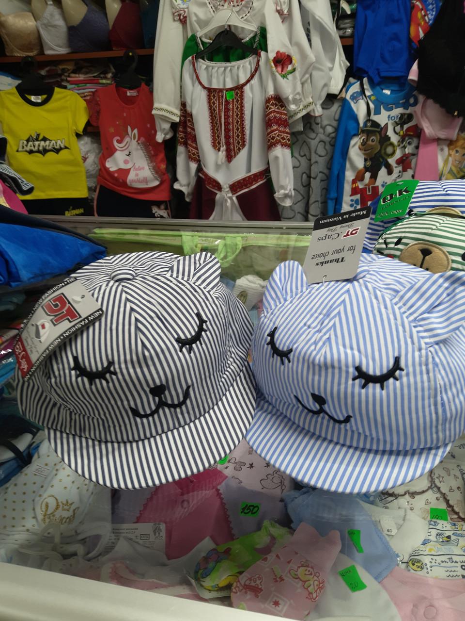 Хлопковая детская кепка бейсболка с ушками 1 2 3 года