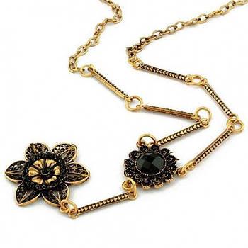 РОЗПРОДАЖ! Гарне намисто з чорними квітами в стилі бароко