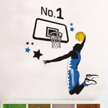 РАСПРОДАЖА! Виниловая наклейка - Баскетболист и баскетбольное кольцо