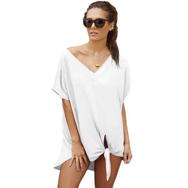 Легкая белая накидка для пляжа