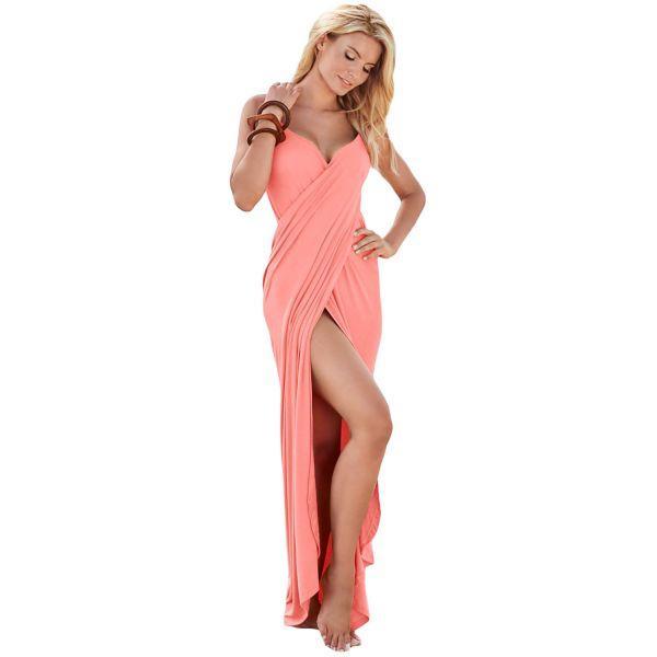 Pink Greek Goddess Spaghetti Strap Sarong Beachwear