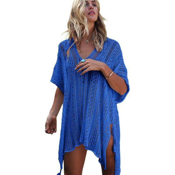 Cobalt Blue Crochet Knitted Tassel Tie Kimono Beachwear