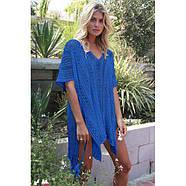 Cobalt Blue Crochet Knitted Tassel Tie Kimono Beachwear, фото 2