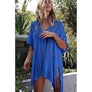 Cobalt Blue Crochet Knitted Tassel Tie Kimono Beachwear, фото 3
