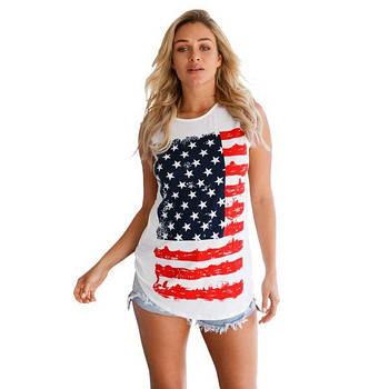 Белая майка с принтом под американский флаг