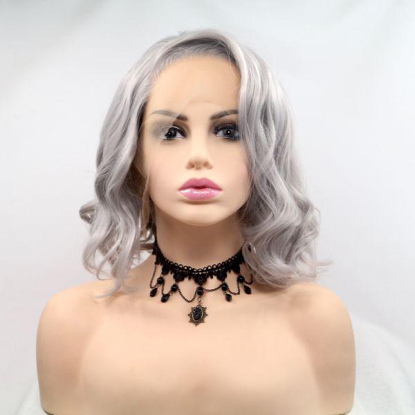 Парик женский короткий волнистый реалистичный на сетке пепельно серого цвета