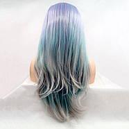Парик сиренево-серо-голубой градиент женский длинный прямой на сетке из термоволос, фото 2