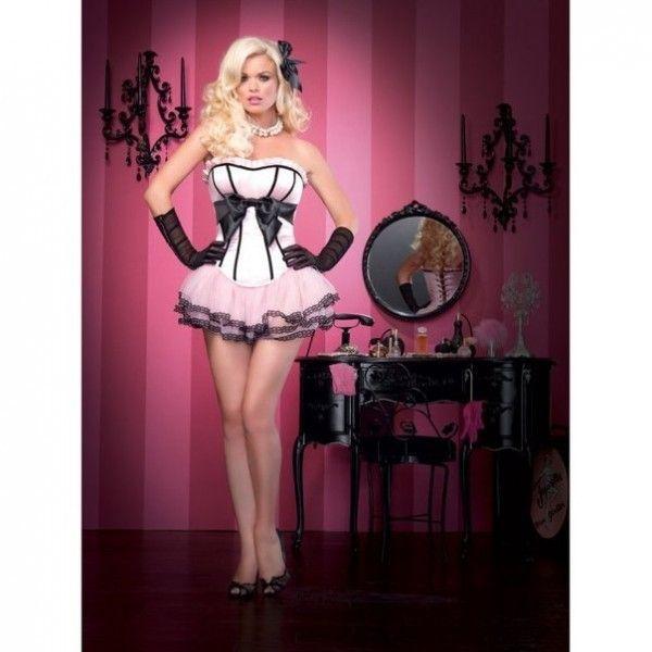 РАСПРОДАЖА! Корсет розовый с черным бантом