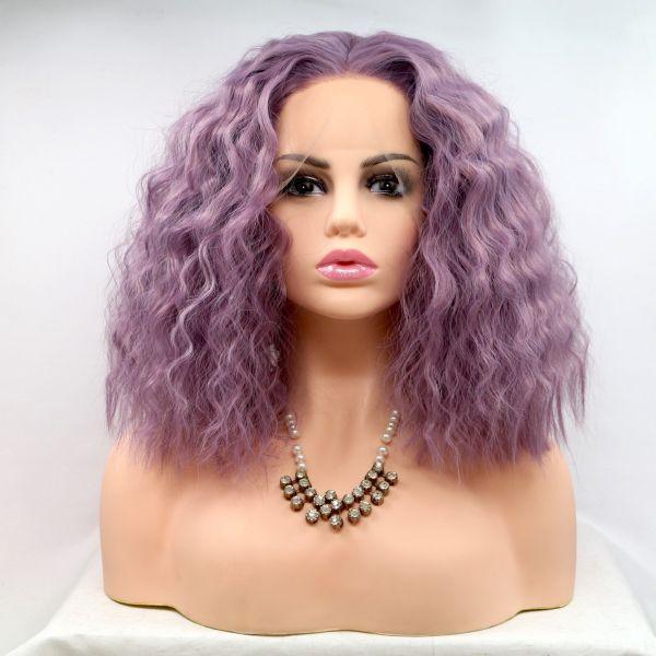 Парик каре фиолетовый женский короткий кучерявый на сетке из термоволос