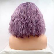 Парик каре фиолетовый женский короткий кучерявый на сетке из термоволос, фото 2