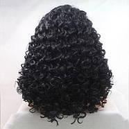 Парик женский черный кучерявый на сетке средней длинны из термоволос, фото 2