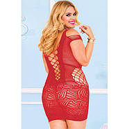 Plus Red Crotchet Mesh Hollow-out Mini Chemise Dress, фото 2