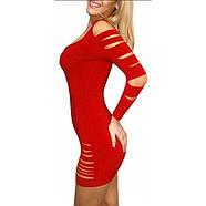 Облегающее красное циническое платье с многочисленными разрезами, фото 2