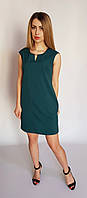 Летнее короткое платье с карманами (темно-зеленое), арт 747/1