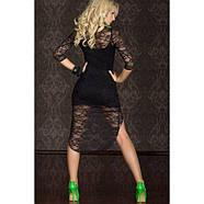 Сексуальное мини-платье с кружевными рукавами короткое, фото 2
