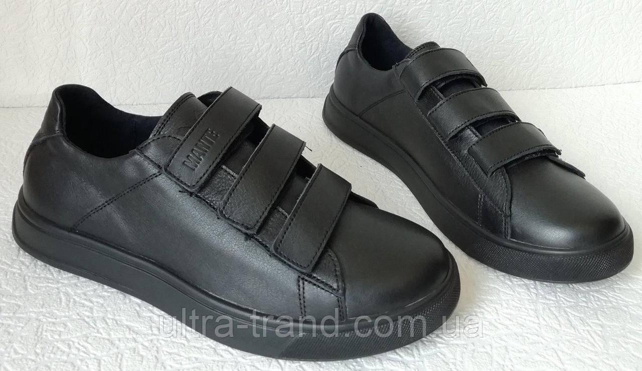 Женские кожаные кеды на липучках сникерсы туфли брендовые Mante черные баталлы