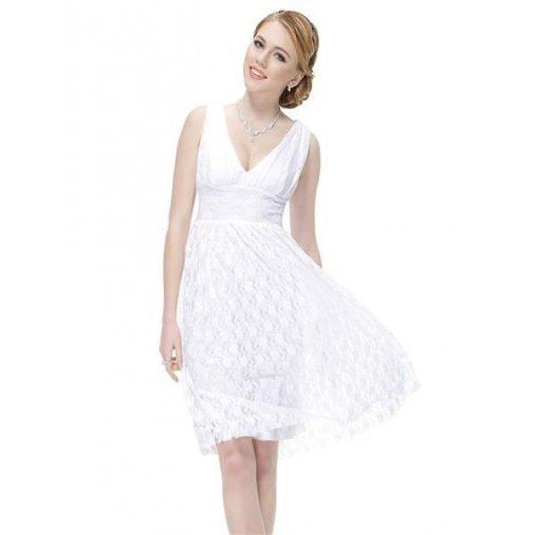 РАСПРОДАЖА! Кружевное белое платье с V-образным декольте