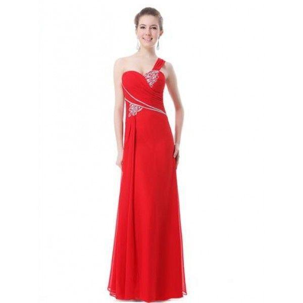 РАСПРОДАЖА! Платье на одно плече с мерцающими стразами красное