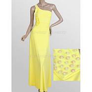 РАСПРОДАЖА! Желтое длинное вечернее платье с открытым плечом, фото 2