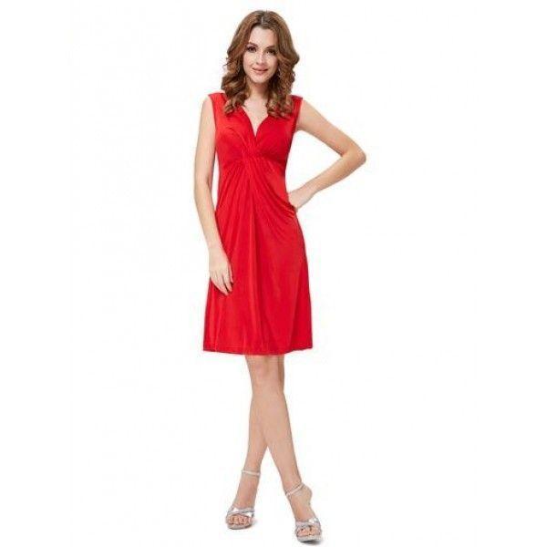 РАСПРОДАЖА! Красное платье с V-образным вырезом