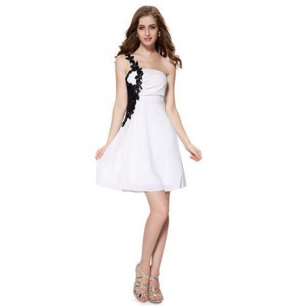 РАСПРОДАЖА! Чёрно-белое коктейльное платье украшено макраме в области плеча