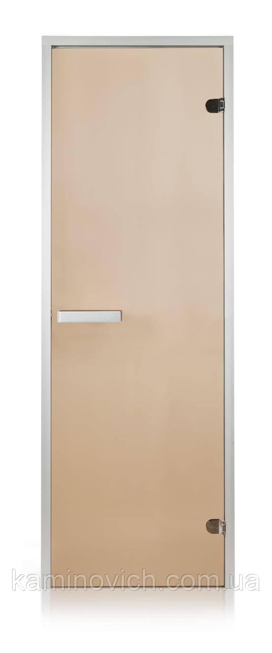 Стеклянная дверь для хамама GREUS прозрачная бронза 70/190 алюминий