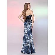 РАСПРОДАЖА! Вечернее платье синего цвета с леопардовым принтом, фото 2