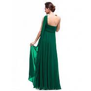 РАСПРОДАЖА! Зеленое вчернее платье на одно плече, фото 2