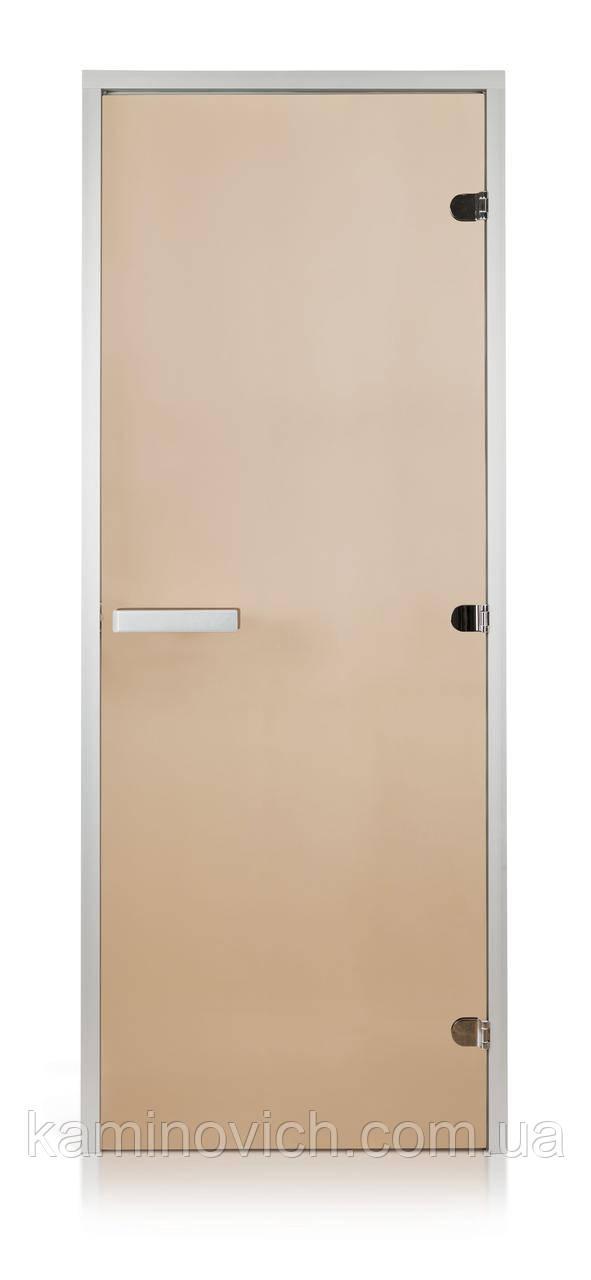 Стеклянная дверь для хамама GREUS прозрачная бронза 80/200 алюминий