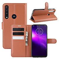 Чехол Luxury для Motorola Moto G8 Play книжка коричневый