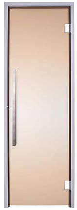 Стеклянная дверь для хамама GREUS Exclusive 70/190 бронза 2 петли, фото 2