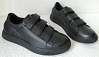 Женские кожаные кеды на липучках сникерсы туфли брендовые Mante черные баталлы, фото 1