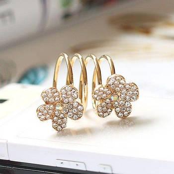 РАСПРОДАЖА! Золотистое кольцо-пружина с цветочками