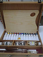 """Набор масляных красок 46 мл """"Мастер-Класс"""" в деревяном чемодане с аксесуарами (24 предмета)"""